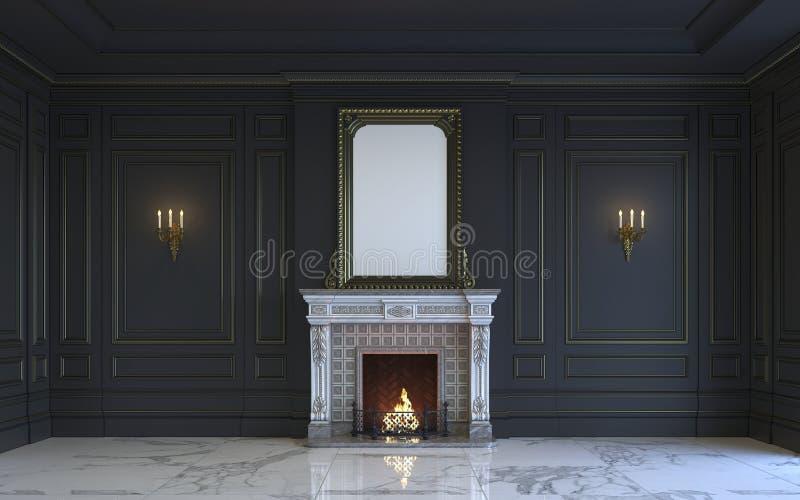 Un intérieur classique est dans des tons foncés avec la cheminée rendu 3d illustration stock