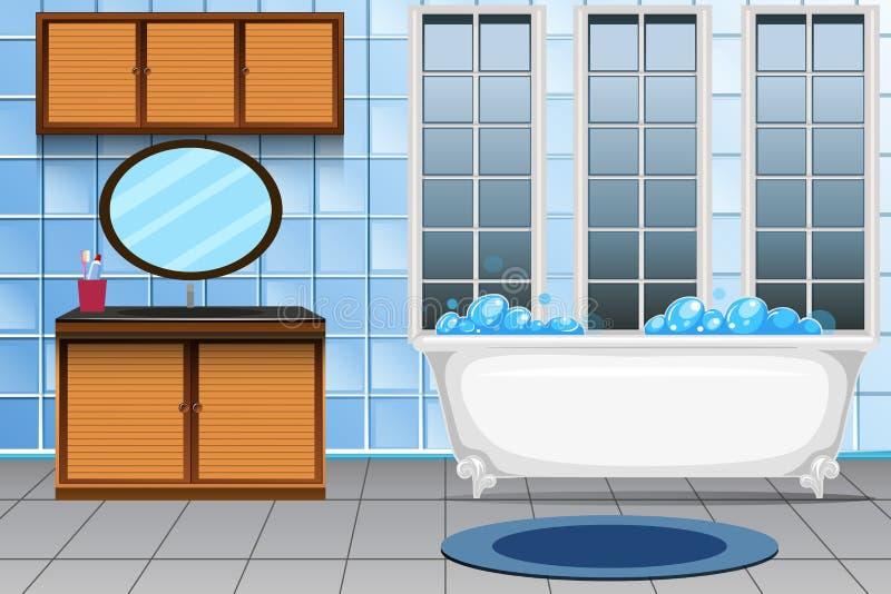 Un interior moderno del cuarto de baño stock de ilustración