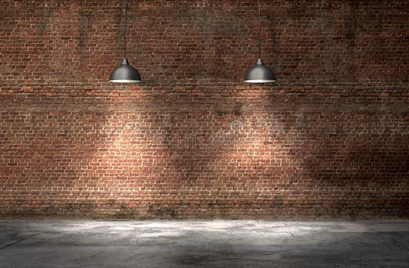 Un interno con un muro di mattoni rosso e un pavimento di calcestruzzo immagini stock