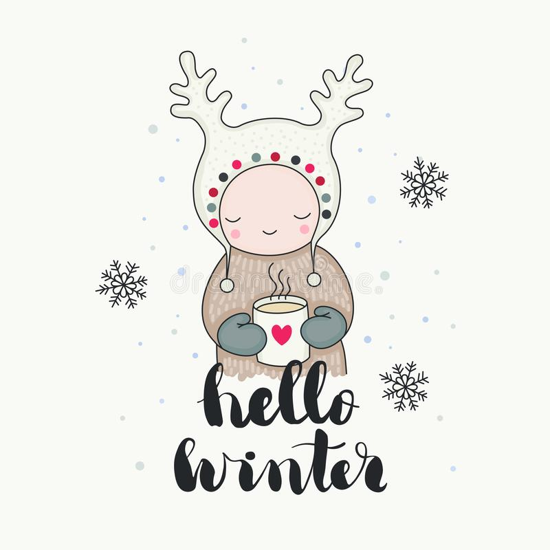 Un invierno sonriente lindo del niño hola ilustración del vector