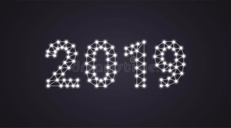 Un'iscrizione di 2019 con le lampade al neon Illustrazione di vettore, un testo d'ardore di 2019 nel colore bianco Elemento grafi royalty illustrazione gratis
