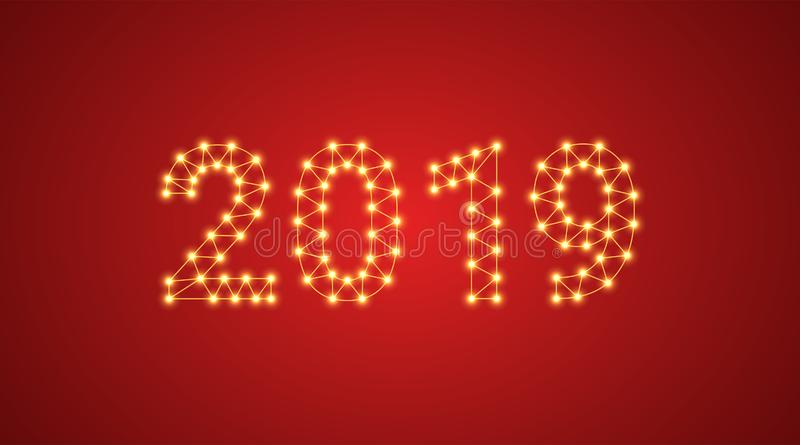Un'iscrizione di 2019 con le lampade al neon Illustrazione di vettore, un testo d'ardore di 2019 nel colore dorato Elemento grafi illustrazione vettoriale