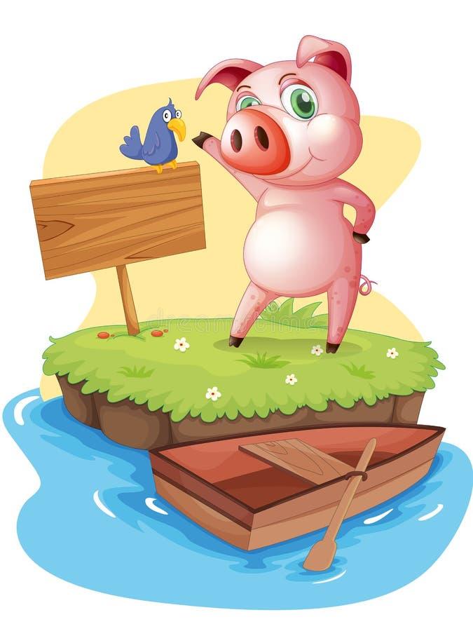 Un'isola con un maiale e un uccello vicino ad un contrassegno vuoto illustrazione di stock