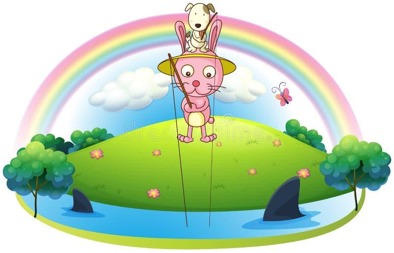 Un'isola con una pesca di due coniglietti royalty illustrazione gratis