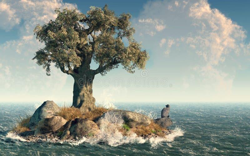 Un'isola dell'albero illustrazione di stock