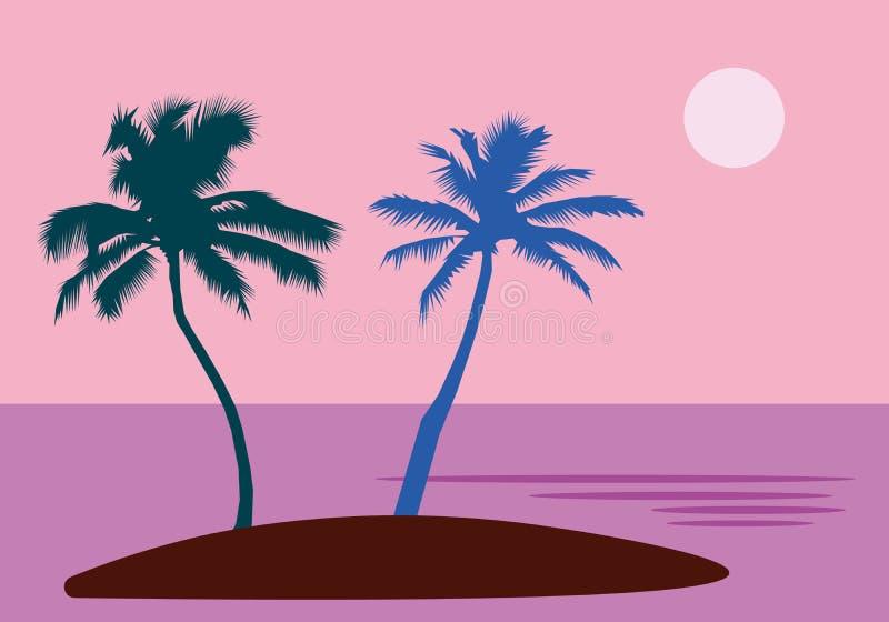 Un'isola tropicale del mare con le palme ed il sole Uno stile piano con la tavolozza pastello illustrazione di progettazione di v royalty illustrazione gratis