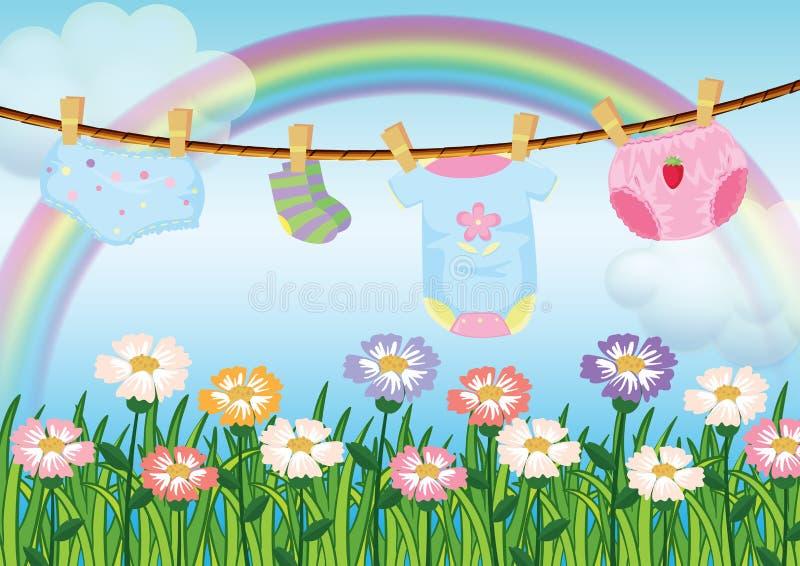 Un jardin avec les vêtements accrochants de bébé illustration de vecteur