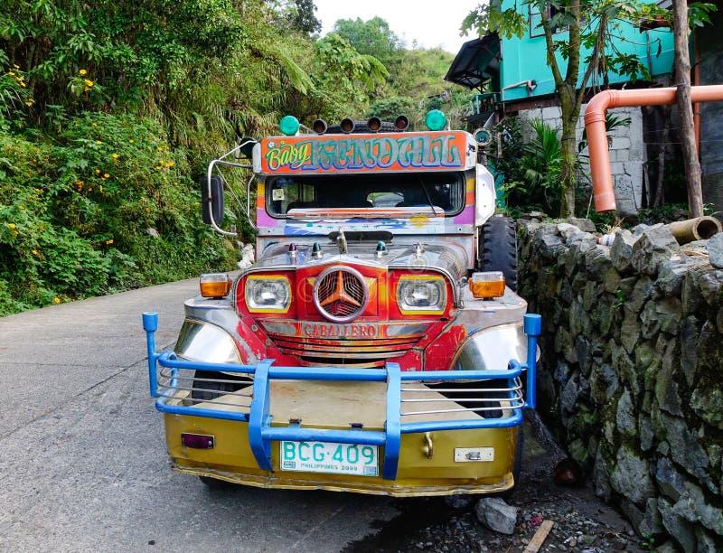 Un jeepney en el municipio de Banaue en Ifugao, Filipinas fotografía de archivo libre de regalías