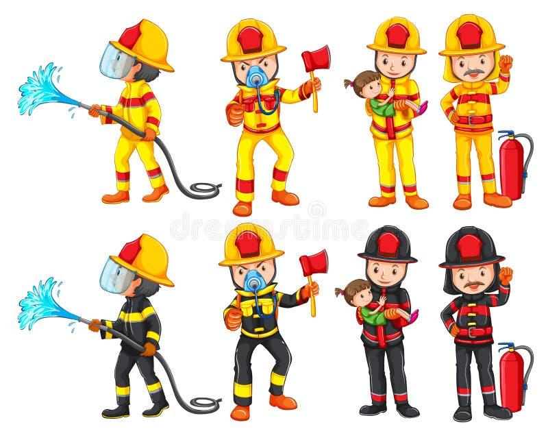 Un jeu de caractères de pompier illustration stock