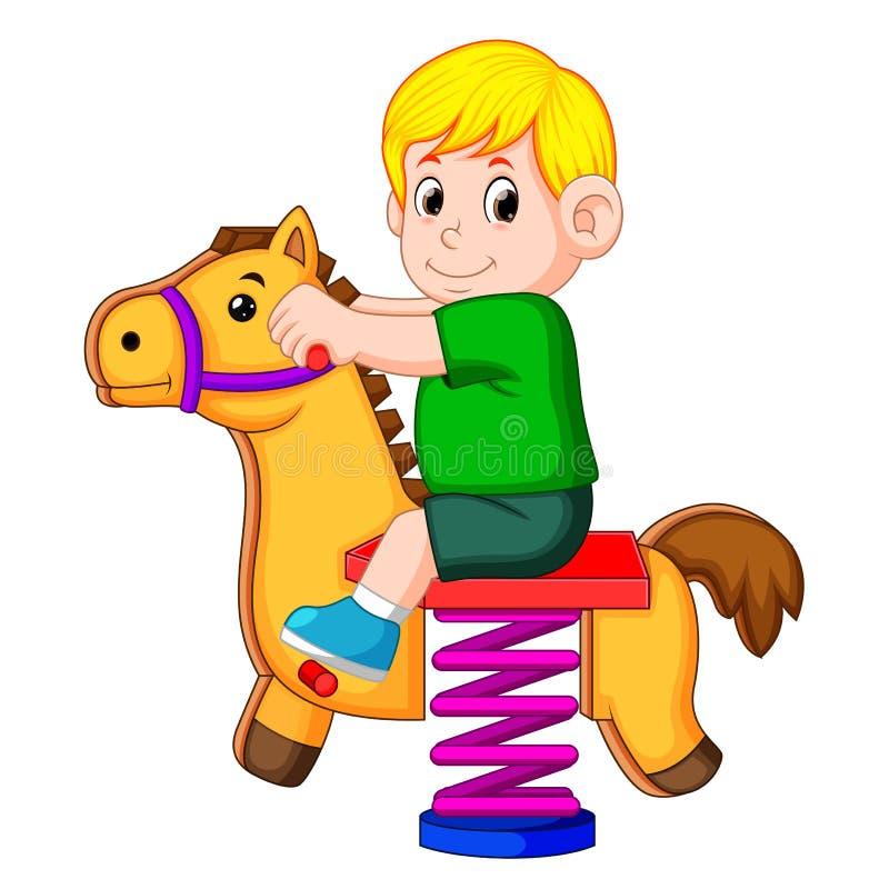 Un jeu heureux de garçon avec le jouet brun de cheval illustration de vecteur