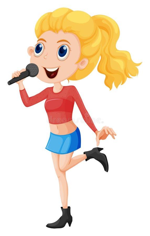 Un jeune chanteur illustration de vecteur