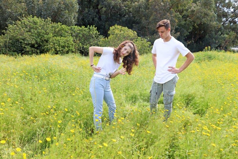Un jeune couple adolescent ayant l'amusement dans un domaine de chrysanthème images libres de droits