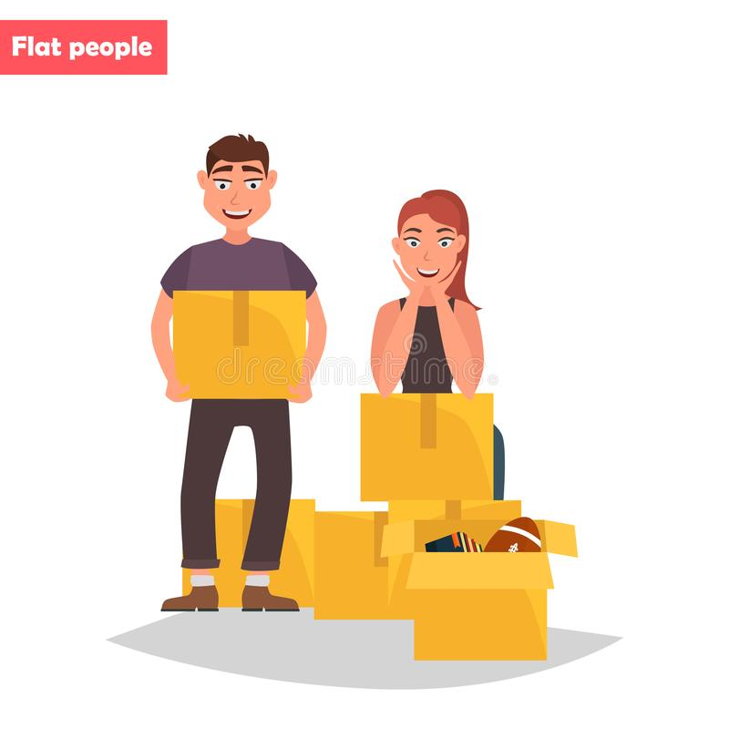 Un jeune couple rassemble des choses dans l'illustration plate de couleur de boîtes illustration stock