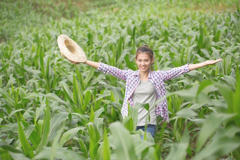 Un jeune et bel agriculteur sourit heureusement dans son jardin de maïs photo libre de droits