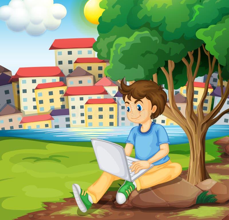 Un jeune garçon à l'aide de l'ordinateur portable sous l'arbre à la rive illustration de vecteur