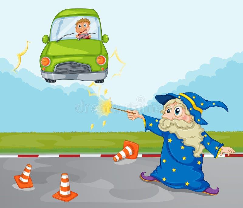 Un jeune garçon à l'intérieur de sa voiture verte et d'un magicien illustration de vecteur