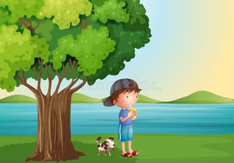 Un jeune garçon et son animal familier sous l'arbre illustration stock