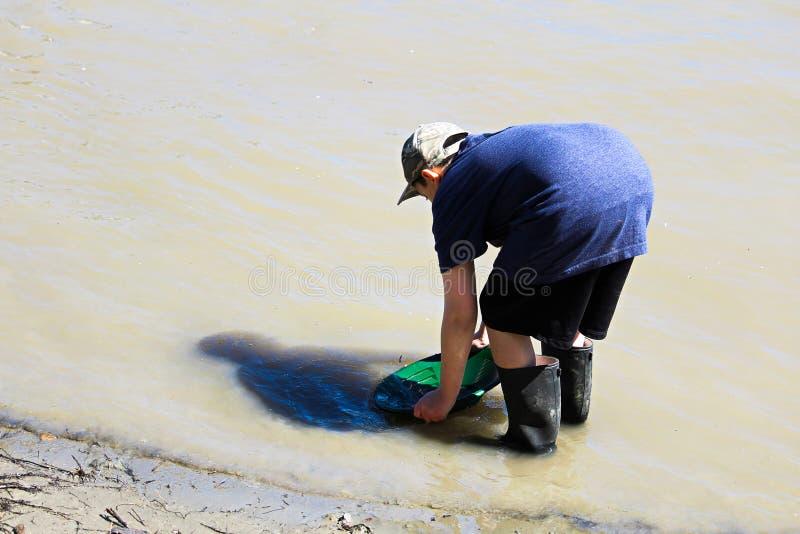 Un jeune garçon filtre pour l'or aux eaux affilent photos libres de droits