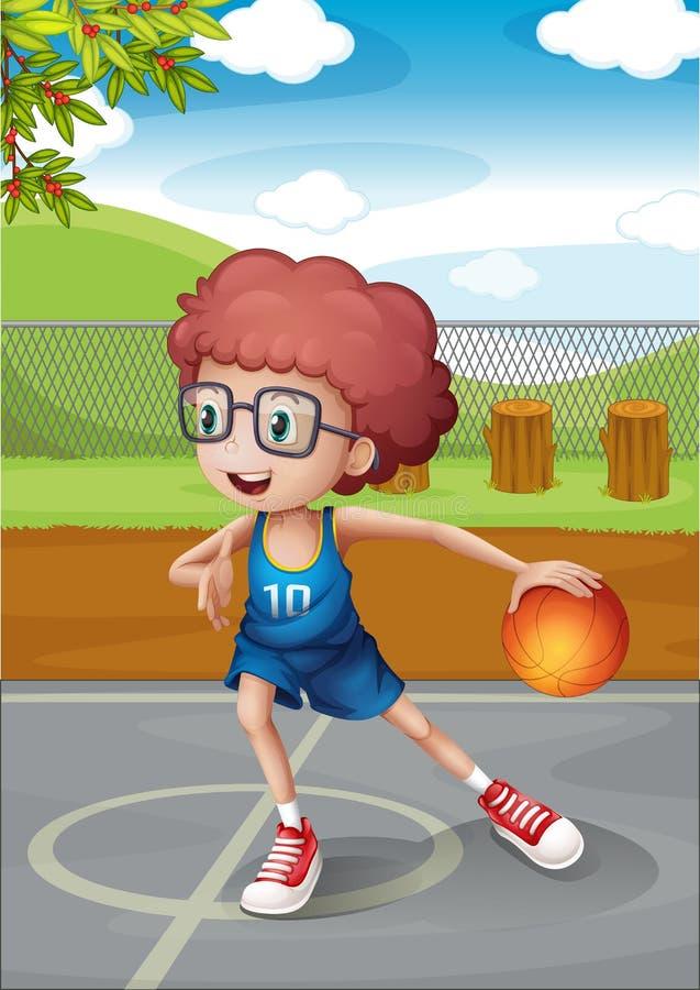 Un jeune garçon jouant le basket-ball portant un uniforme bleu illustration libre de droits