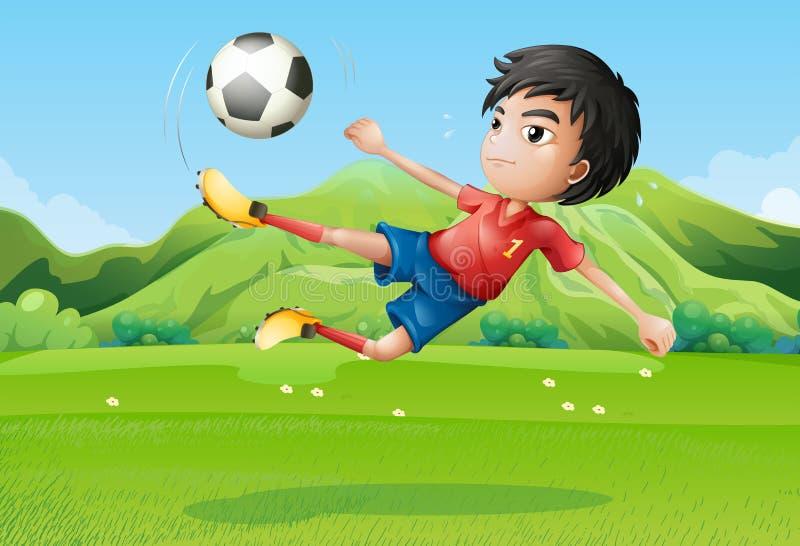 Un jeune garçon jouant le football au champ illustration de vecteur