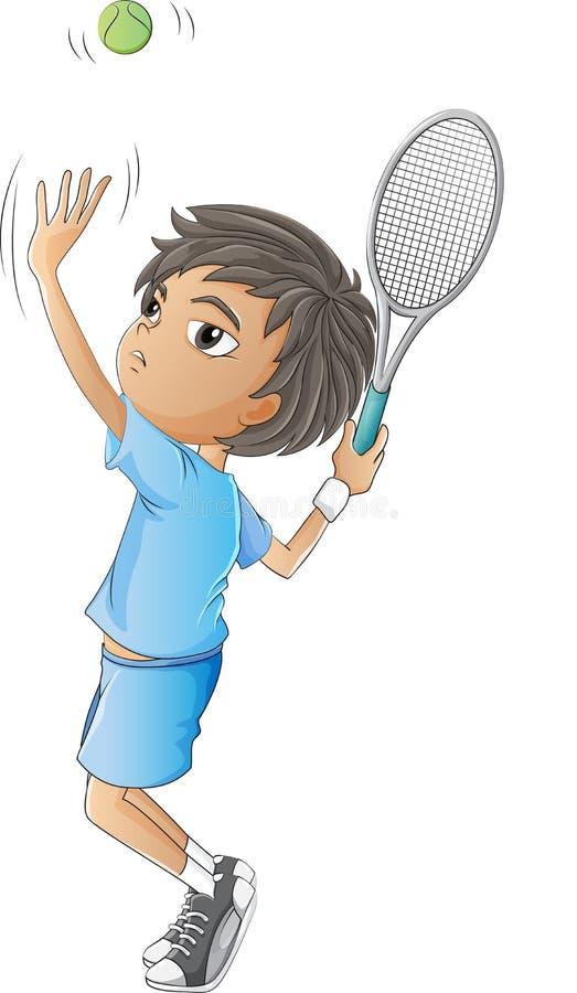 Un jeune garçon jouant le tennis illustration de vecteur
