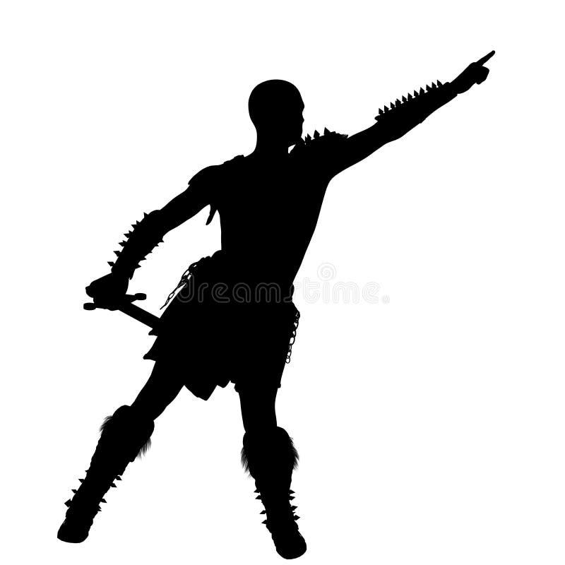 Un jeune guerrier chauve dans l'armure légère romaine barbare Il se tient au côté droit à l'appareil-photo illustration stock