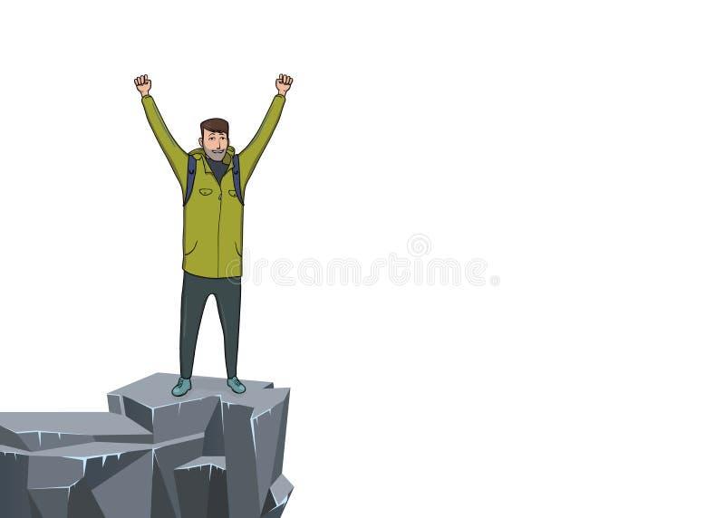 Un jeune homme avec les mains augmentées au bord de la falaise Randonneur de montagne, explorateur, alpiniste Un symbole de réuss illustration stock