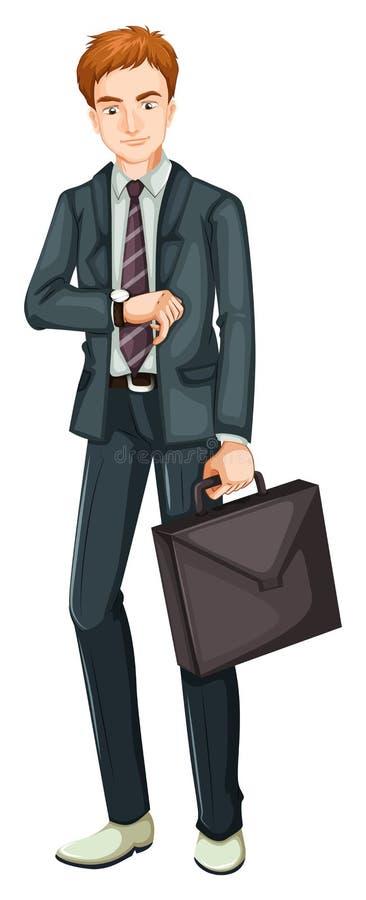Un jeune homme d'affaires sur le fond blanc illustration libre de droits