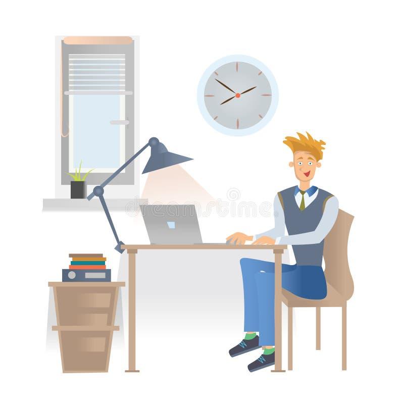 Un jeune homme dans des vêtements sport s'assied sur le lieu de travail dans le bureau avec un ordinateur portable Illustration d illustration stock