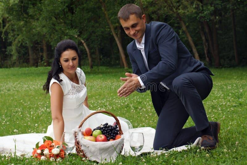 Un jeune homme dispose à verser le vin à sa belle jeune mariée en parc sur un pique-nique images stock