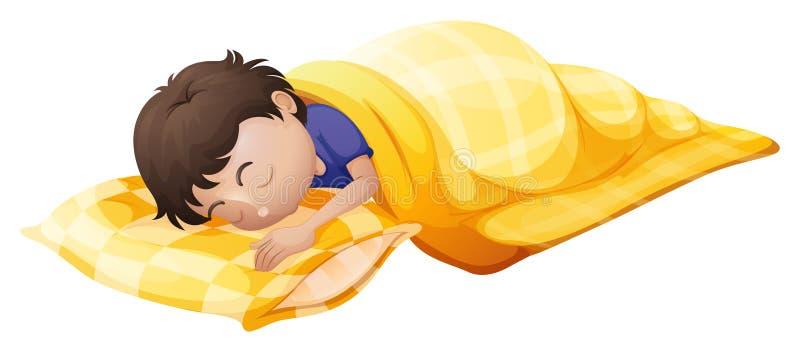 Un jeune homme dormant solidement illustration de vecteur