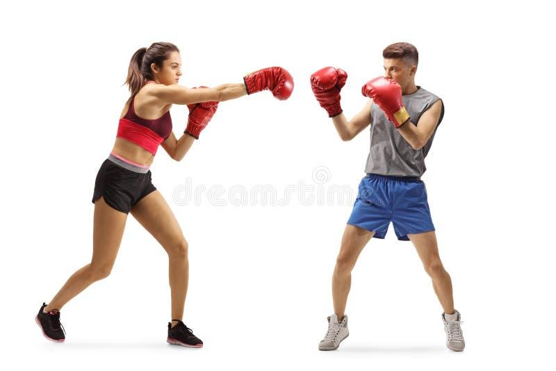 Un jeune homme et une jeune femme qui font de la boxe images libres de droits