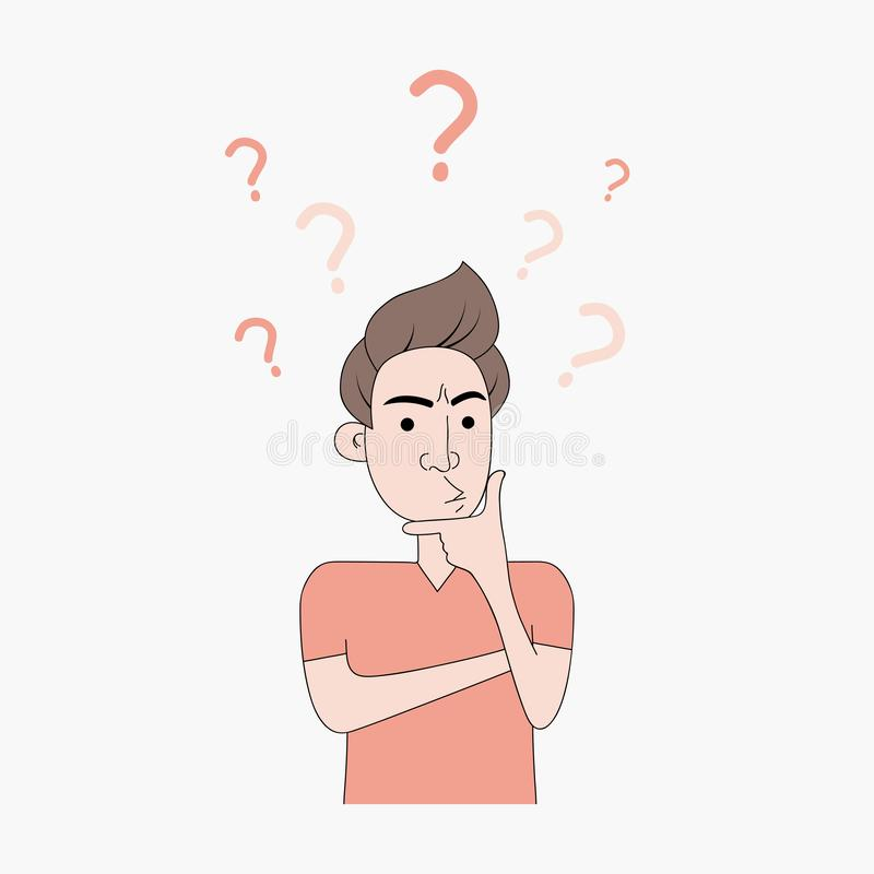 Un jeune homme pense en appliquant un doigt à son menton Le mâle pense avec le point d'interrogation et l'expression préoccupée V illustration de vecteur