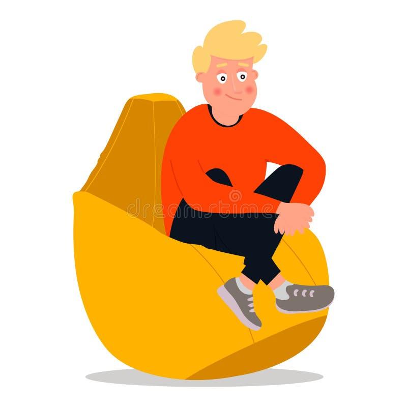 Un jeune homme s'assied dans une chaise de perle Dirigez l'illustration sur le fond blanc dans le style de bande dessin?e illustration de vecteur