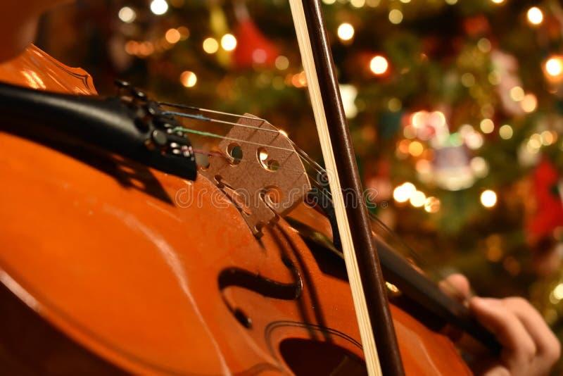 Un jeune jouant le violon avec un arbre de Chrismas à l'arrière-plan images stock