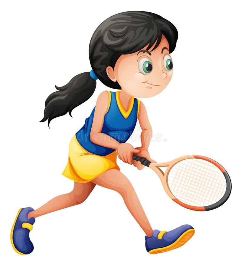 Un jeune joueur féminin jouant le tennis illustration de vecteur