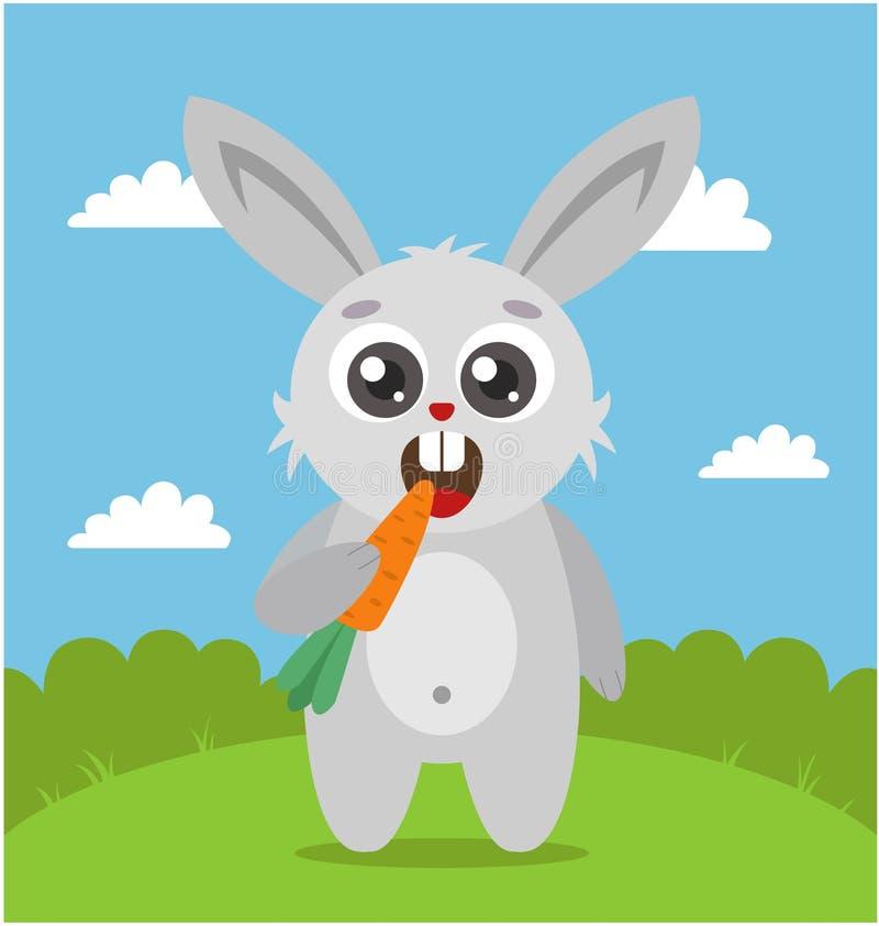 Un jeune lapin mignon tient une carotte dans sa patte et grignotements illustration stock