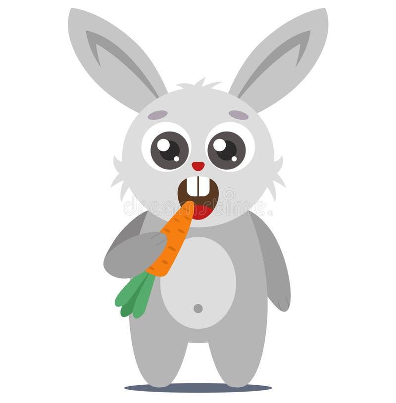 Un jeune lapin mignon tient une carotte illustration libre de droits