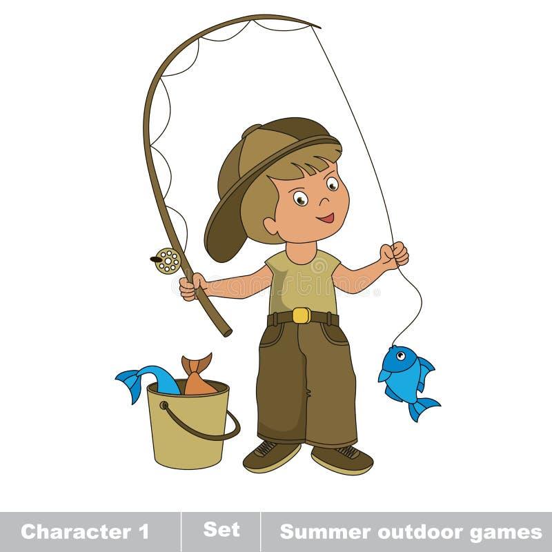 Un jeune pêcheur dans le chapeau avec la tige a pêché des poissons illustration libre de droits