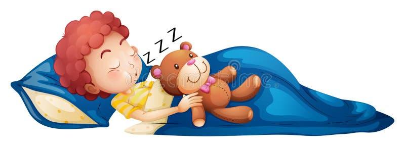 Un jeune sommeil de garçon illustration libre de droits