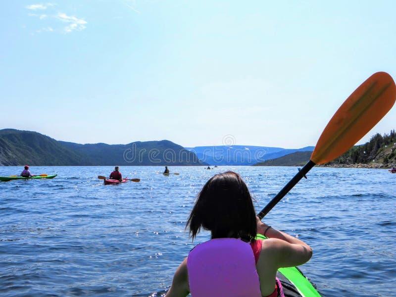 Un jeune touriste féminin dans un kayak explorant les belles eaux dans la baie de Bonne avec un groupe de kakayers, à Gros Morne images stock