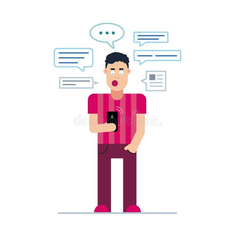 Un jeune type ou homme étonné regarde son téléphone, et au-dessus de sa tête bulle de beaucoup de messages illustration stock