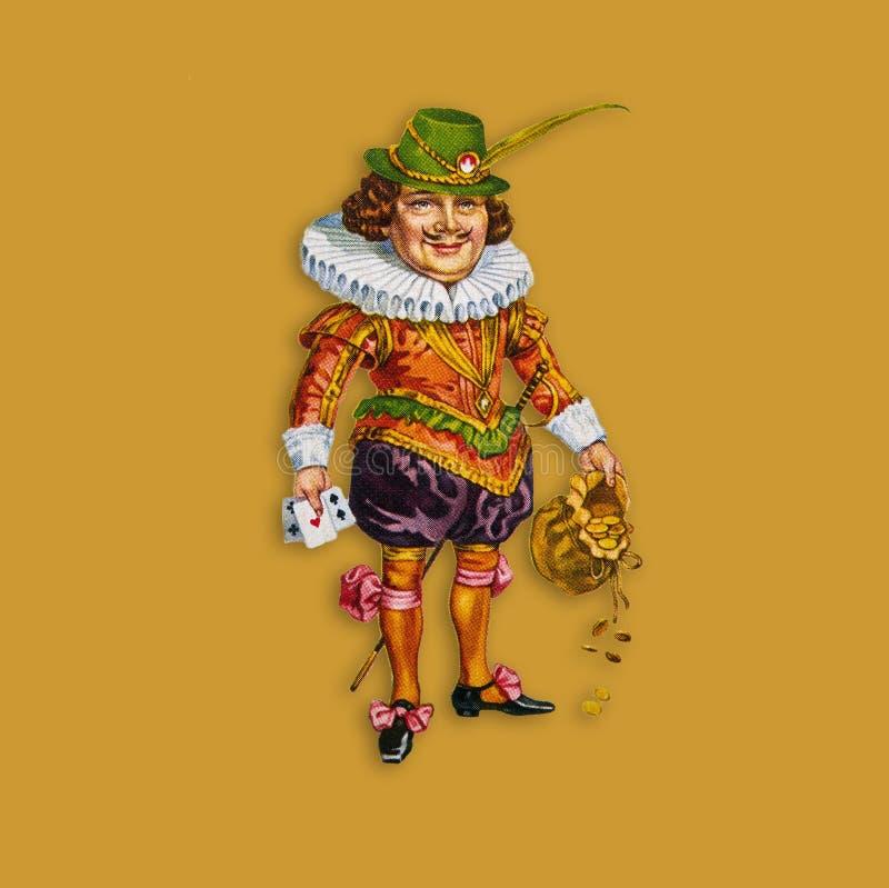 Un joker de carte avec une poche pleine de l'or dans une place d'or illustration de vecteur