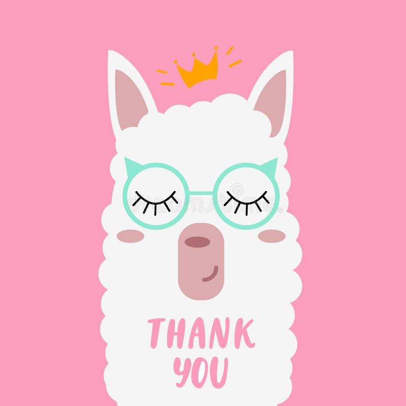 """Un joli lama avec les verres qui indiquent """"vous remercient ` illustration stock"""