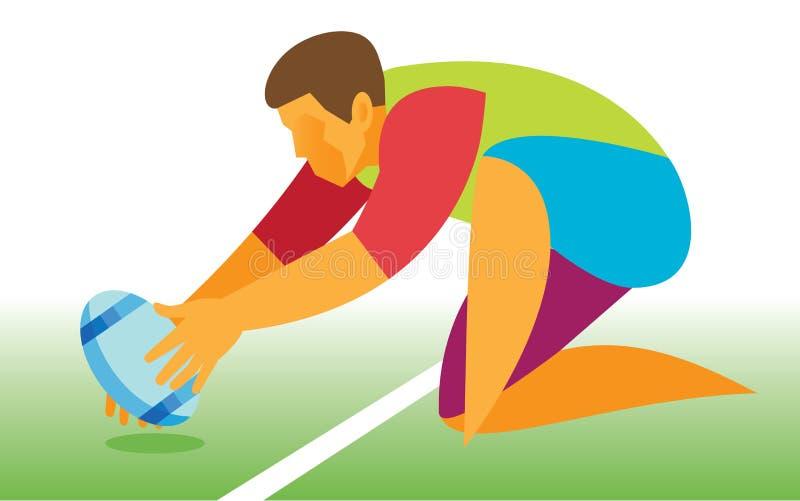 Un joueur dans le rugby dispose à prendre un coup-de-pied gratuit illustration de vecteur