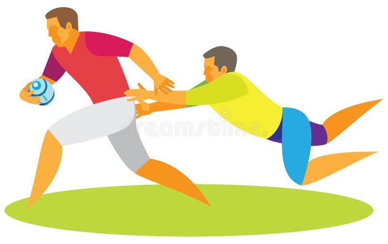 Un joueur dans le rugby essaye d'arrêter une attaque par un adversaire illustration de vecteur