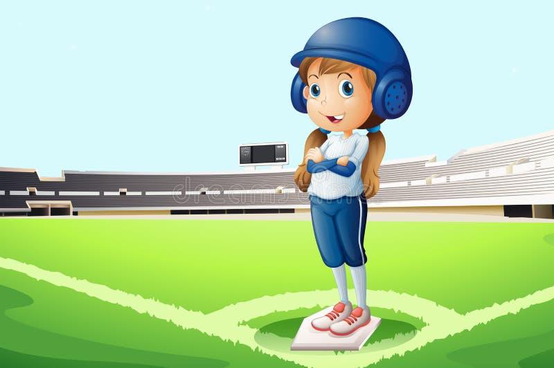 Un joueur de baseball à la cour illustration stock