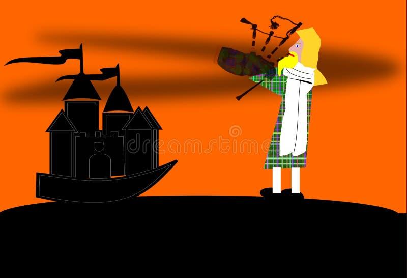 Un joueur de cornemuse devant un château illustration stock