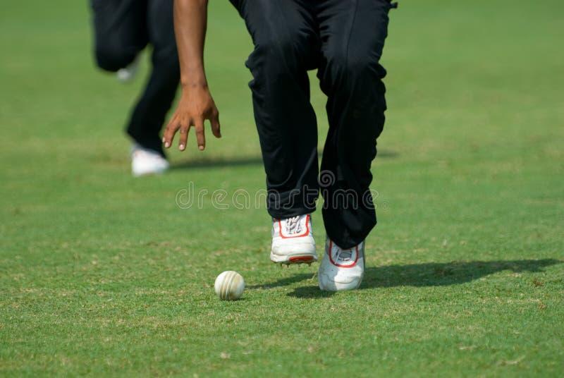 Un joueur de cricket prenant une bille photos stock