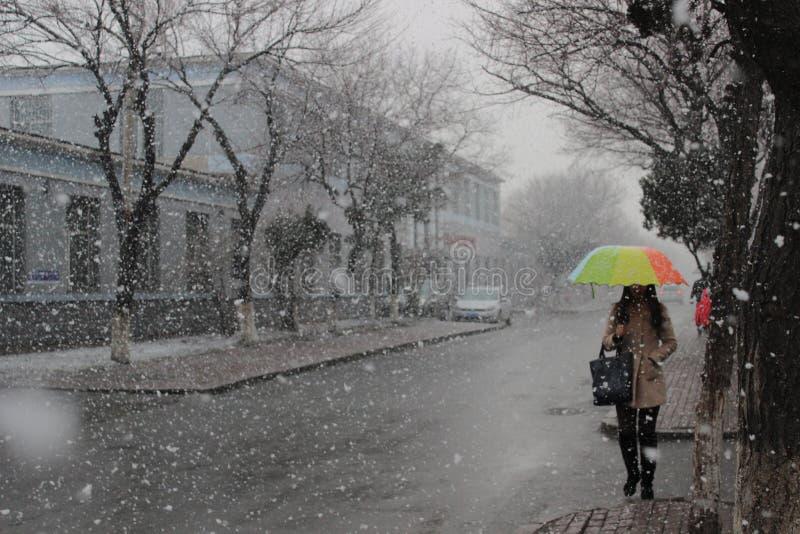 Un jour de neige dans JLU Une jeune fille est sous un parapluie coloré photos libres de droits